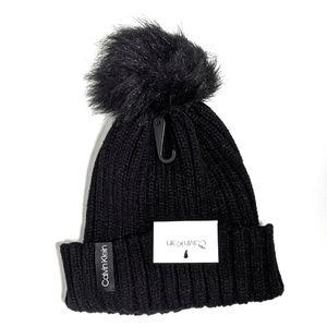 Calvin Klein Beanie Color Pop Faux Pom Knit Black